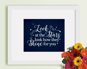 Instant Download - Look at the stars look how they shine for you - Art Print 8x10 -  blue - stars - arrow - grunge - shine - nursery - baby