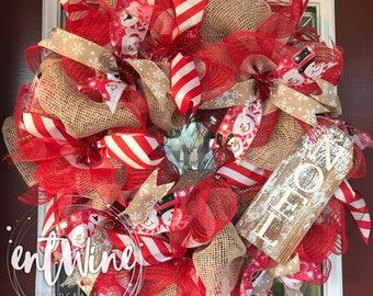 Burlap Snowman Noel Wreath