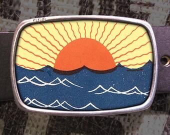 Sunset Block Print Belt Buckle 805, Gift for Him, Gift for Her, Husband  Gift, Wife  Gift Groomsmen Wedding