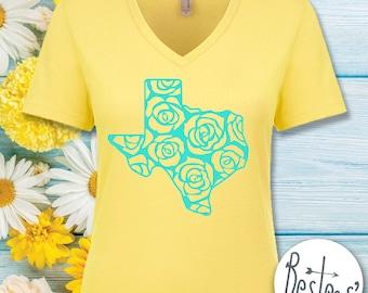 Yellow Rose of Texas - Ladies V-neck T-shirt