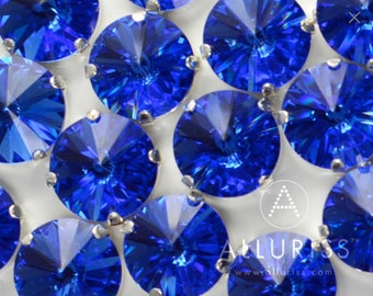 18mm Round Bright Sapphire Blue Crystal, 18pcs , Clawed Fancy Stone & Setting