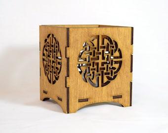 Celtic laser cut wooden tealight holder