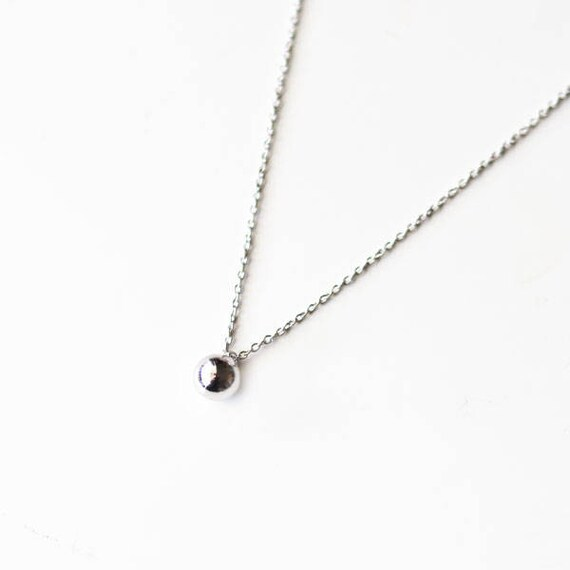 Silver ball pendant necklace silver ball necklaceminimalist aloadofball Images