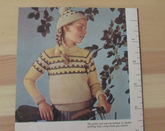 Vintage (1950s) knitting leaflet, English Woman's Day, Boy's pullover and Girl's jersey and cap. Second series No. 6