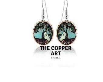 Tree of life design handmade copper earrings