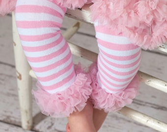 Baby Leg warmers, leg warmers, ruffled baby leg warmers, girl legwarmers,Pink and white striped leg warmers,leggies, arm warmers,photo prop.
