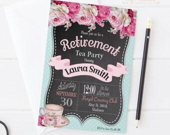 Retirement Chalkboard Tea Party Invitation / Digital Floral Printable Invite / DIY Party