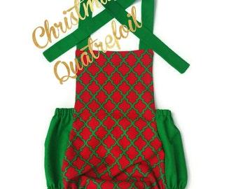 Christmas Quatrefoil Romper, Holiday Romper, Baby Romper, Girl Romper, Bubble Romper, Handmade Romper, Vintage Inspired Romper, Romper