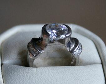 Elegant CZ Silver Ring