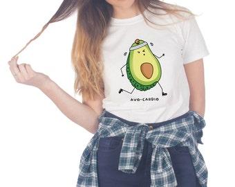 Avo-cardio T-shirt Top Shirt Tee Fashion Funny Avocado Cardio Fitness Gym