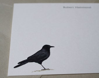 NEW! Crow Raven Bird Custom Notecard Stationery. Thank You, Any Occasion, Personalize Watercolor Print, Set of 10.