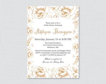 Gold Bridal Shower Invitation Printable or Printed - Gold Flowers Bridal Invites, Gold Garden Party Bridal Shower Invite with Flowers 0027