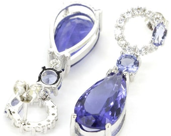 Sterling Silver Rich Purple Lolite Gemstone Drop Earrings With AAA CZ Accents
