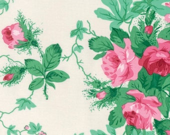 78123 -  Verna Mosquera Peppermint Rose Holiday garden in dove  color- 1/2 yard