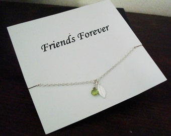 Peridot Briolette and Leaf Charm Silver Necklace ~with Personalized Jewelry Gift Card for Friends, Sister in Law, Bridal Party, Graduation