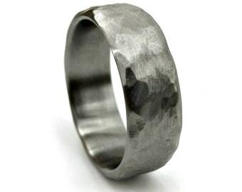 Cold Hammered Titanium, Wedding Ring, Wedding Band, Hammered Ring, Titanium Ring, Handmade Jewelry, Unique Modern Ring, Ring Design
