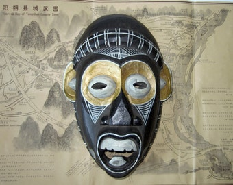 Wooden Tribal Mask/ Hand Painted Carved/ Vintage Balinese Black and Gold Wood Carving Face Mask
