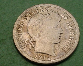 1914-D  Barber Good   Fine  FREE SH In United States # ET563