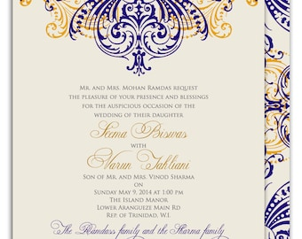 Indian wedding invitation ornate medallion with rhinestones regal motif gold and navy indian wedding invitation with intricate scrolls stopboris Images