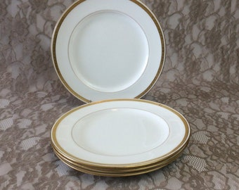 """4 Minton England Luncheon Plates for Davis Collamore NY, Antique Gold Encrusted White Porcelain 9"""" Lunch Dishes, Elegant Dining Tableware"""