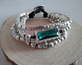 Beaded bracelet. Crystal Bracelet. 4-wire bracelet. Multriple Bracelet.