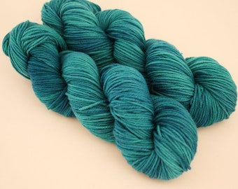 Time for Teal -  DK double knit sock yarn, light worsted, 100g