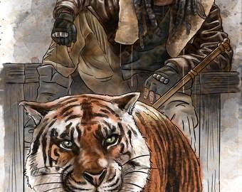 King Ezekiel and Shiva Khary Payton Walking Dead Inspired A4 Horror Splash Print
