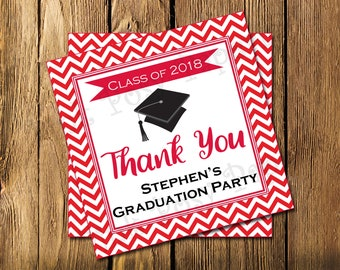 Printable Graduation Party Favor Red Chevron Gift Tags Class of 2018