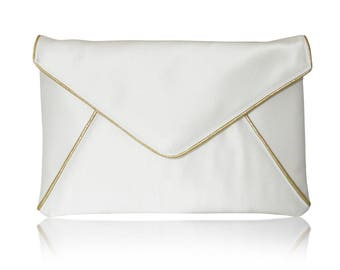 Mariage Ivoire et or enveloppe satin embrayage sac à main sac à main KATERINA