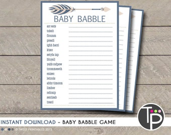 BABY BABBLE GAME, Instant Download Baby Shower Game, Tribal Baby Babble, Tribal Baby Shower, Arrow, Tribal Arrow Baby Shower Games