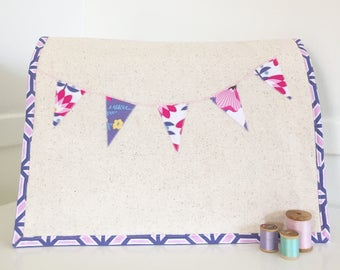 Sewing Machine Cover - Fuchsia Floral Banner