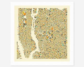 NEW YORK CITY Map (Giclée Fine Art Print/Photo Print/Poster Print) by Jazzberry Blue (ivory version)