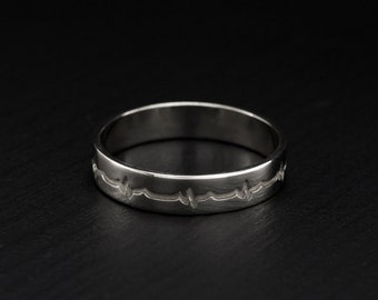 Heartbeat band, Pulse wedding ring, Silver heartbeat ring, Sterling silver wedding ring, Silver pulse ring, Unique wedding band