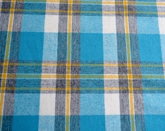 Vintage Wool Fabric - Turquoise Grey and Yellow Plaid - 60W x 35L