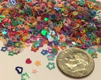 2500 piece tiny carnaval color assorted heart star flower nail art mix , 3 mm (S3)