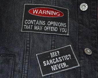 Sarcastic Warning Me Never Embroidered Jacket Punk Biker Rock Alternative Custom Patch