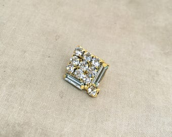 Wedding tie tack, Art deco lapel pin, tie tack, rhinestone lapel pin, art deco,gift for men,mens accessories, SQUARE LARGE GOLD wholesale
