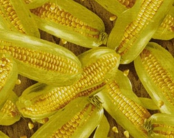 """RJR Fabric, Vegetable Fabric - Farmers market Corn Tossed Fabric 100% cotton 43"""" Fabric by the yard (G219)"""