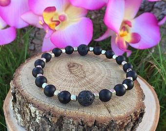Essential Oil Diffuser Bracelet, Lava Rock Bracelet, Aromatherapy Bracelet, Yoga Jewelry, Meditation Bracelet, Valentine's Day, Gift