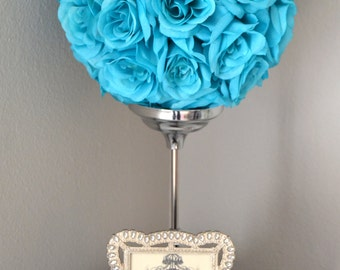 TURQUOISE Kissing Ball, Turquoise Flower Ball, Turquoise Pomander. Turquoise Wedding Centerpiece. Turquoise Flower Girl Bouquet.
