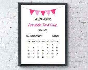 Baby Hello World | A4 Personalised Print