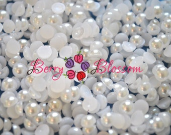 10mm Half White Pearls - Flat back pearls - half pearls - flower center, pearl beads - pearl embellishment