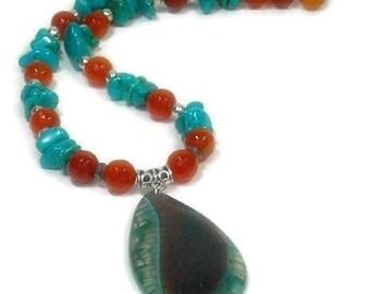 Real Turquoise Necklace, Genuine Turquoise Gemstone Jewelry, Dragon Vein Pendant, Orange Carnelian, Natural Stones, Southwest, Sterling