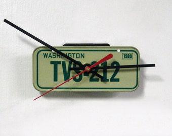 1980 Washington Bicycle License Tag Wall Clock - Mini WA License Plate Decor - Bike Cyclist