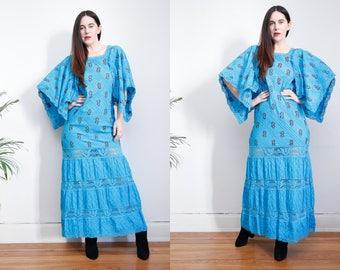 Vintage 70s Floral Cotton Mexican Dress Embroidered Oaxaca Kaftan Kimono Maxi Dress Sz S