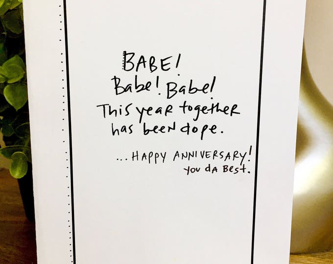 Babe Anniversary card, Card for him, 1st Anniversary Card for wife, Paper Anniversary, i love you card, 365 days, 1st wedding anniversary