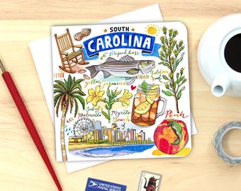 South Carolina Card. Single or Pack of 4.