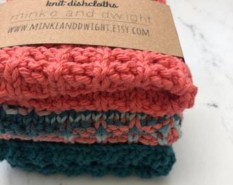 Knit dishcloths, Cotton dishcloths, dishcloth set, cotton washcloth, knit washcloth, wedding gift, hostess gift, knit cotton dishcloths