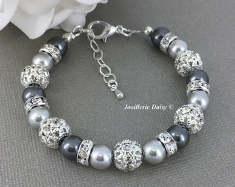 Swarovski Gray Pearl Bracelet Shade of Grey Bracelet Bridesmaid Bracelet Gift on a budget Maid of Honor Mother of Bride Mother of Groom Gift