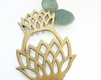 Vintage 1976 Solid Brass Pineapple Trivet Spoon Rest Utensil Tray